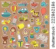 funny baby toys stickers set.  vector doodle collection of hand drawn icons for baby shower or scrapbook  - stock vector