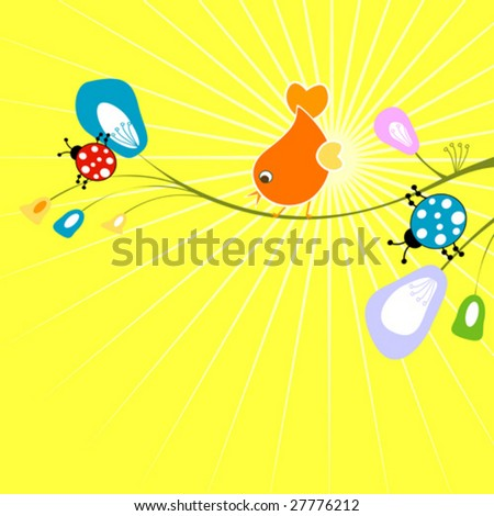 funny background, nature - stock vector