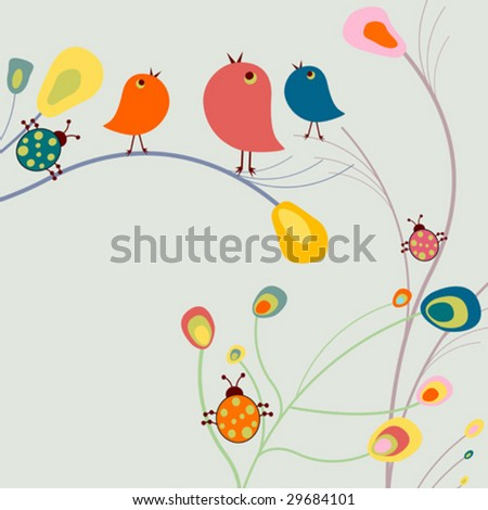 funny background with birds - stock vector