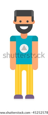 Funny beard man with hipster hair smiling. Hipster beard boy vector and hipster character. Style handsome hipster man vintage stylish face. Modern style hipster casual beard guy - stock vector