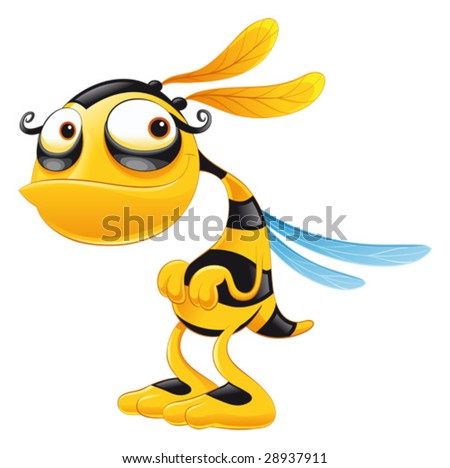 Funny Bee. Funny cartoon and vector isolated character