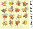 Funny bees set in vector. Cartoon funny bees in bright colors. Childish spring icons - stock vector