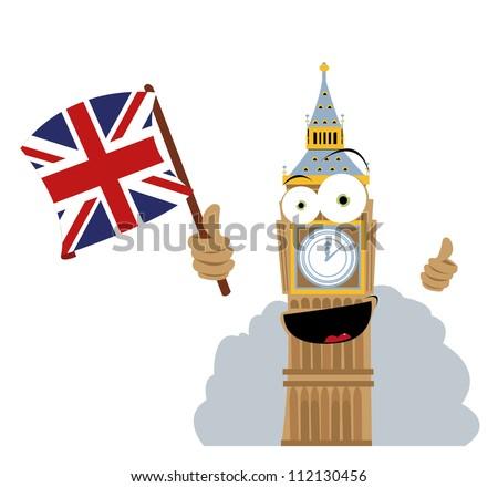 Funny Big Ben Holding a Flag - stock vector