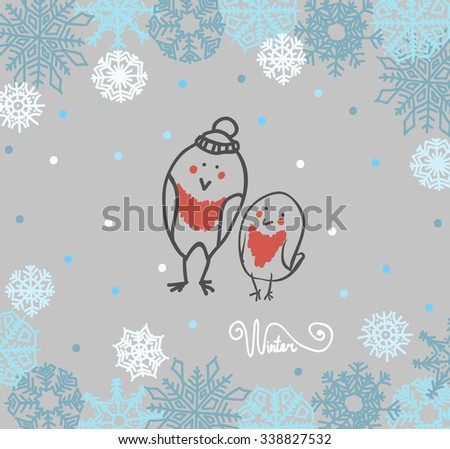 Funny birds bullfinch on winter background snowflakes. Vector illustration - stock vector