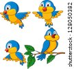 Funny birds cartoon set - stock photo