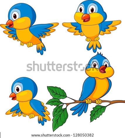 Funny birds cartoon set - stock vector