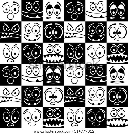 Funny black and white emotions seamless pattern.