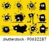 funny black blob in the form of humans and animals (vector illustration); - stock