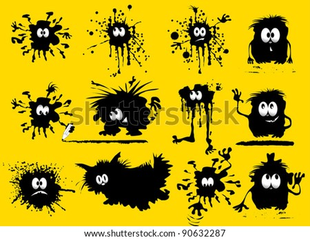 funny black blob in the form of humans and animals (vector illustration); - stock vector