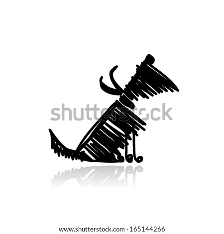 Funny black dog for your design - stock vector