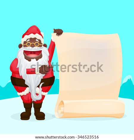 Funny Black Santa Holding Blank Scroll Cool character for your designs - stock vector