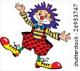 Funny blue-haired clown. Vector art-illustration on a white background. - stock vector