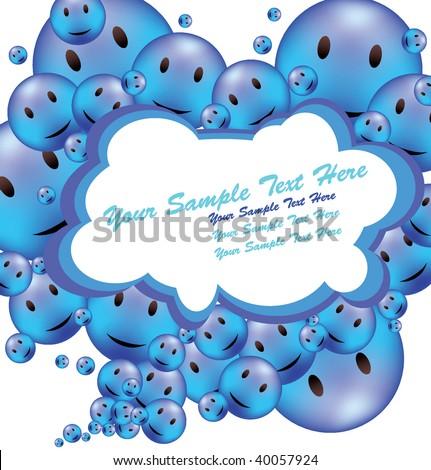 Funny Blue Positive Smile Frame - stock vector
