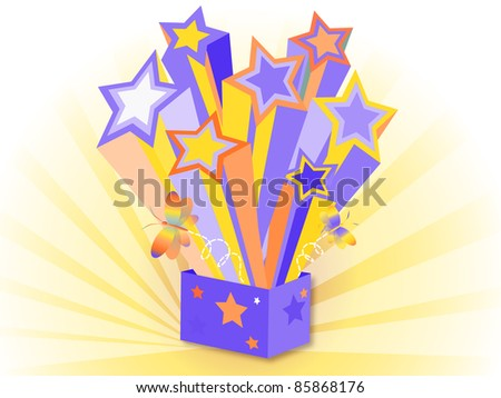 funny box of colorful stars