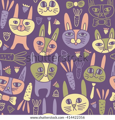 Funny Bunnies Seamless Pattern