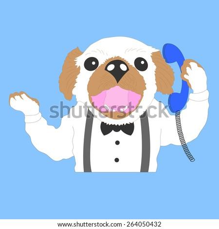 funny business dog, boy, hipster dog cartoon vector in action talking, speaking phone - stock vector