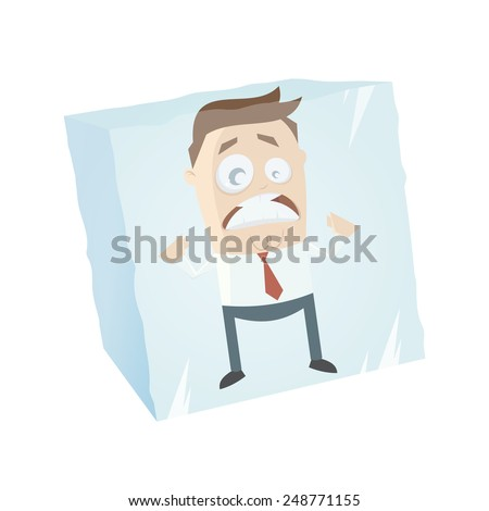 Funny Businessman Is Frozen In An Ice Cube