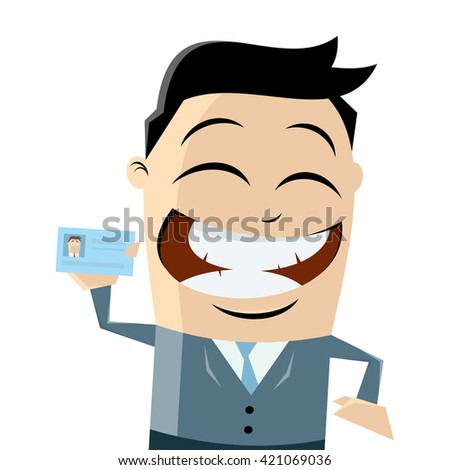funny businessman with passport - stock vector