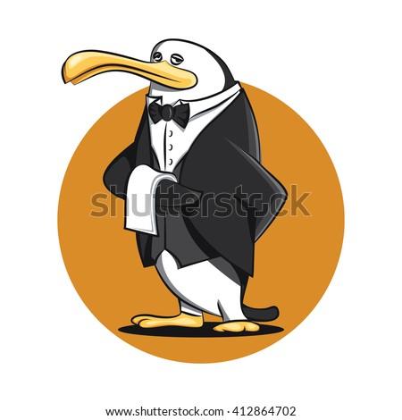 Funny Butler Waiter Penguin Cartoon in Uniform Vector - stock vector