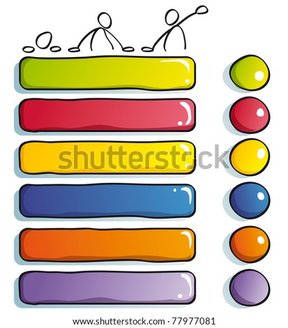 Funny Buttons with guys to choose - stock vector