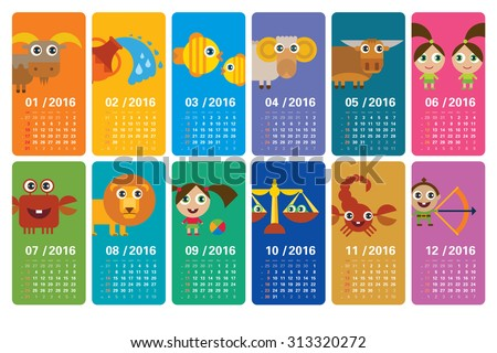 Funny calendar 2016 with cartoon horoscopes (ideal for web and print) - stock vector