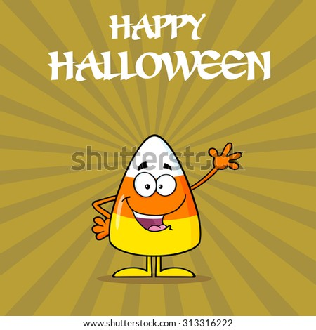 Funny Candy Corn Cartoon Character Waving. Vector Illustration With Background And Text - stock vector