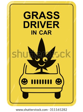 Funny car sticker grass driver in car crazy symbol for bumper sticker