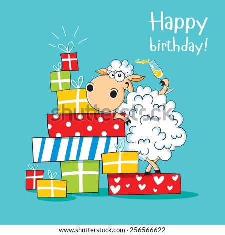Funny card happy birthday sheep presents stock photo photo vector funny card happy birthday with sheep with a lot of presents and a wineglass of champagne bookmarktalkfo Image collections