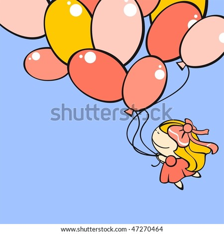 Funny card with a cute little girl flying with the balloons - stock vector