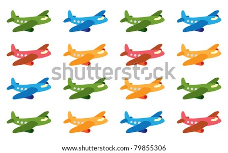 funny cartoon airplane pattern - stock vector