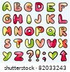 funny cartoon alphabet on realistic paper page - stock vector