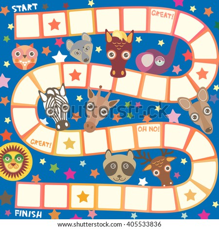 Funny cartoon animals game for Preschool Children, elephant deer horse, giraffe owl raccoon, wolf zebra lion, white orange squares on blue background. Vector  - stock vector