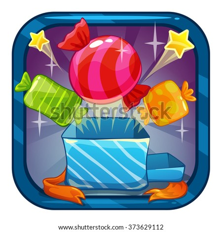 Funny cartoon app icon illustration with candy bonus, vector game asset