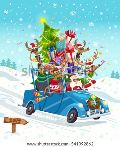 Funny cartoon background poster with santa and group of reindeer characters riding oldschool car on snowfield vector illustration