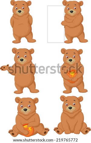Funny cartoon bear - stock vector