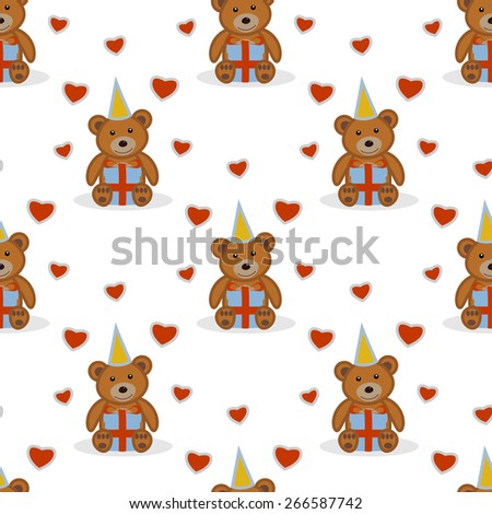 Funny cartoon bear seamless pattern. Funny cartoon bear with gift. Vector illustration. - stock vector