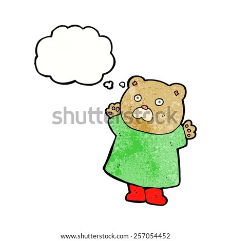 funny cartoon bear with thought bubble - stock vector