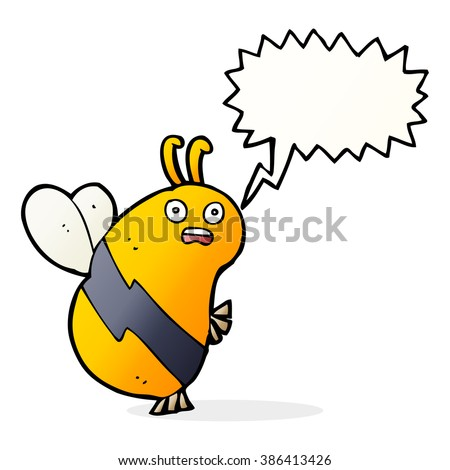 funny cartoon bee with speech bubble