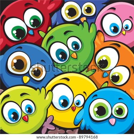 Funny cartoon birds - stock vector
