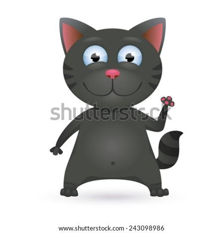 Funny cartoon black cat. Vector Illustration - stock vector