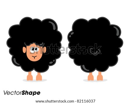 Funny cartoon black sheep from front and behind, vector illustration - stock vector