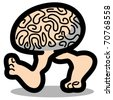 Funny, cartoon brain walking or running on two legs showing bare feet. - stock vector