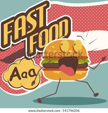 Funny cartoon burger. Fast Food.  - stock vector