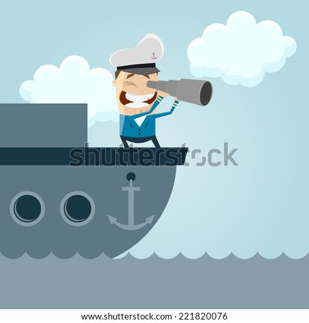 funny cartoon captain on a boat - stock vector