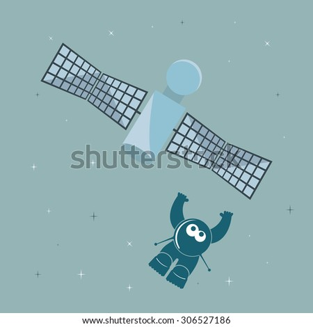 Funny cartoon character cosmonaut in space, flying along with the satellite. - stock vector
