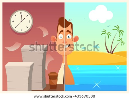 Funny Cartoon Character Office Worker Work And Vacation Colorful Vector Illustration