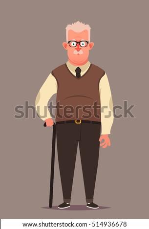 funny cartoon character old man walking stock vector 514936678