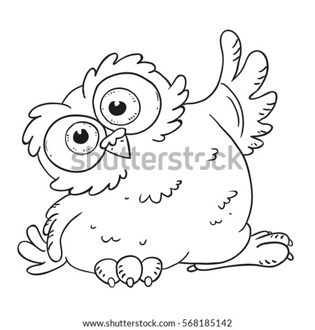 funny cartoon character owl surprised owl with big eyes vector isolated coloring book
