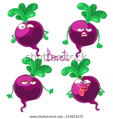 Funny cartoon character with many expressions of beet - stock vector