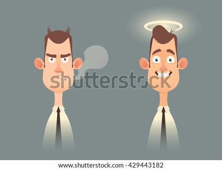 Funny Cartoon Characters. Good and Bad Office Workers. Vector Illustration - stock vector